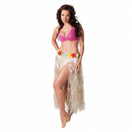 Jupe hawaïenne à fines franges blanches