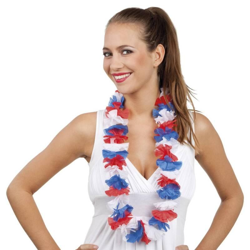Collier de petites fleurs en tissus bleu, blanc, rouge