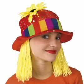 Chapeau clown rouge à pois argentés et cheveux en laine
