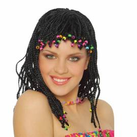 Perruque jamaïcaine avec tresses afro noires