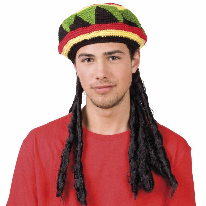 Chapeau jamaïcain avec longues dreadlocks noires