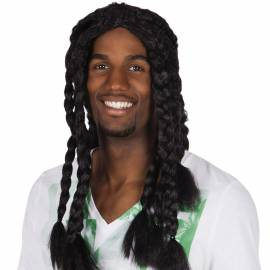 Perruque avec longues tresses afro noires