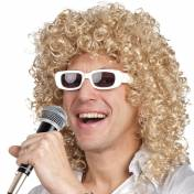 Perruque mi-longue, bouclée, blonde avec lunettes