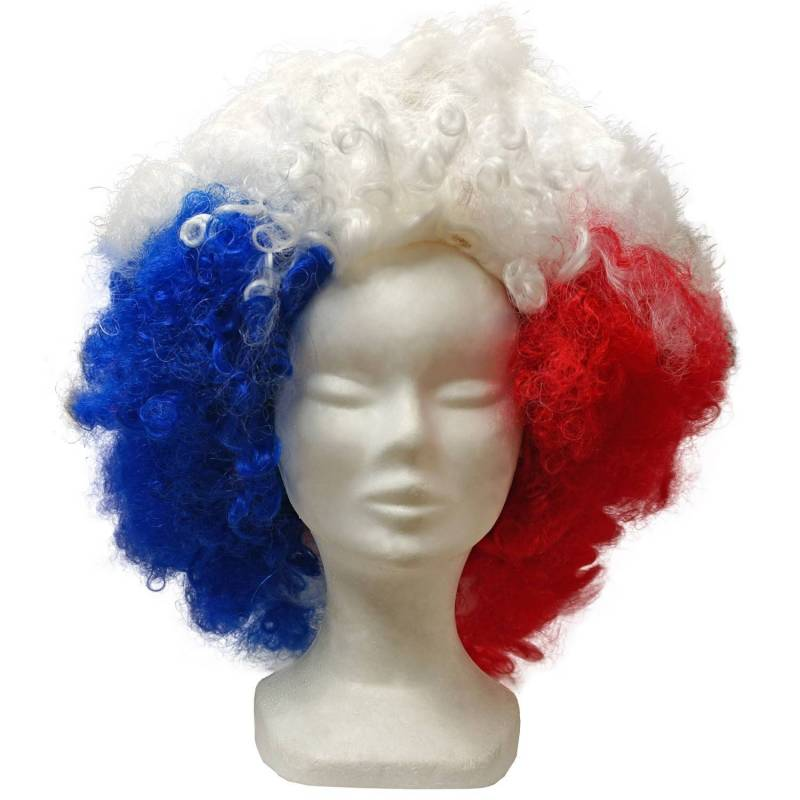 Maxi perruque bleu blanc rouge supporter France
