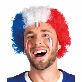 Perruque bleu blanc rouge supporter France