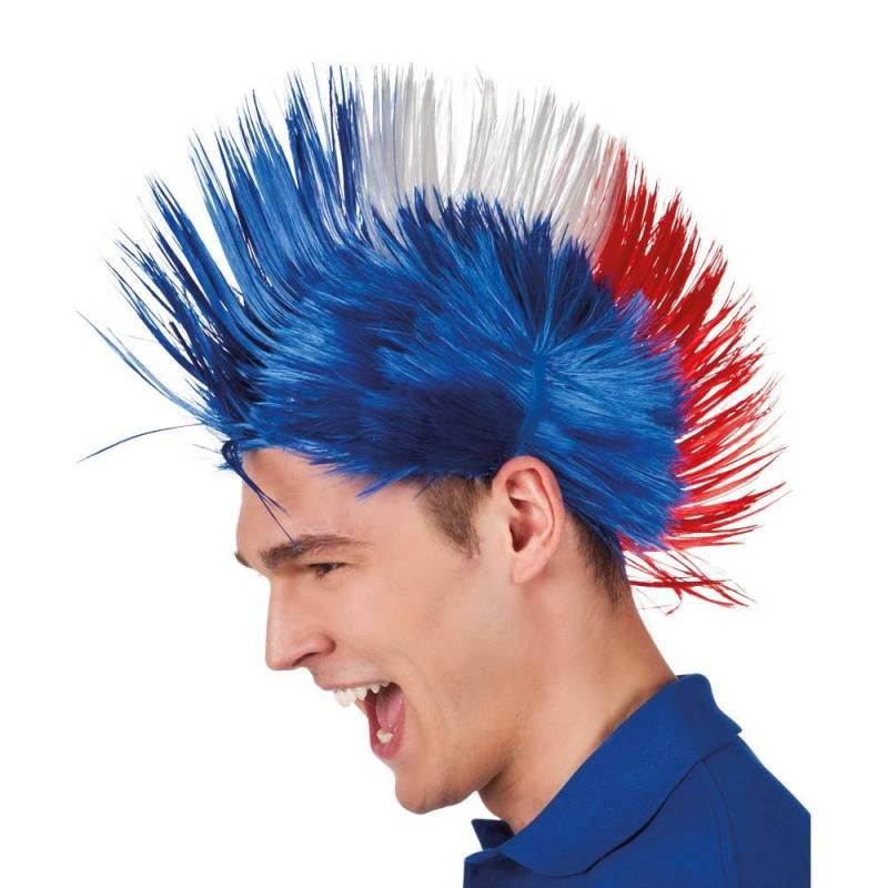 Perruque punk tricolore bleu, blanc, rouge