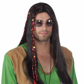 Perruque longue, noire, avec des tresses avec ruban rouge et perles