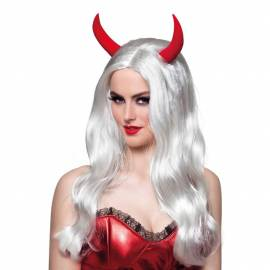 Perruque blanche longue avec cornes deguisement diablesse