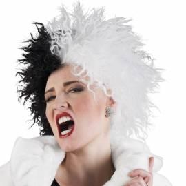 Perruque noire et blanche façon Cruella Denfer
