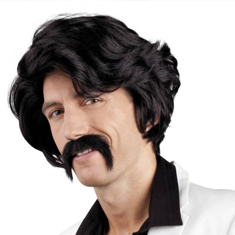 Perruque noire et moustache noire