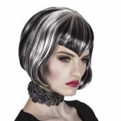 Perruque noire style bob avec mèches grises-blanches