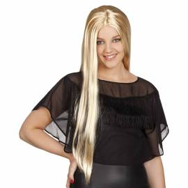 Perruque longue, blonde platine