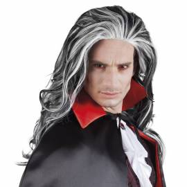 Perruque de vampire longue, noire et blanche
