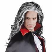 Perruque longue, noir et blanc de vampire, Dracula