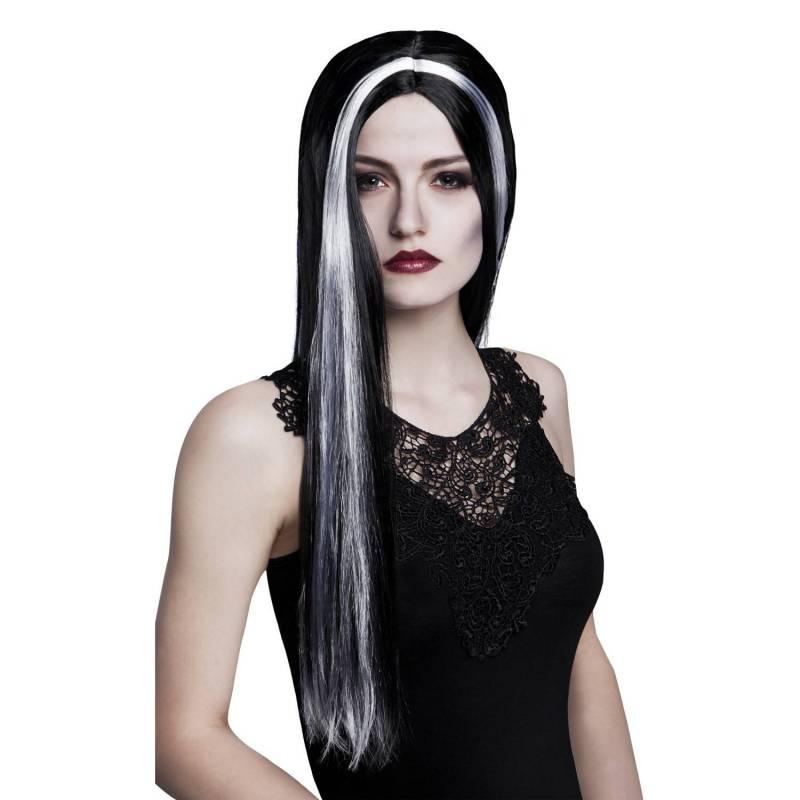 Perruque longue, noire avec une mèche blanche