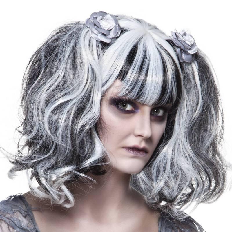 Perruque noire et blanche coiffé avec des couettes