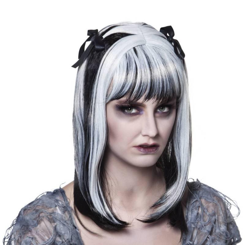 Perruque noire et blanche mi-long avec rubans noirs