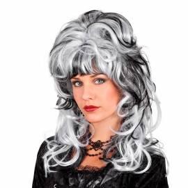 Perruque noire et blanche mi-long légèrement bouclée
