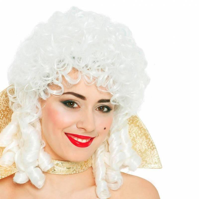 Perruque blanche bouclée, façon Marie-Antoinette