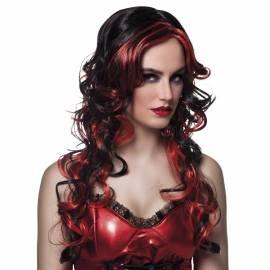 Perruque longue, noire, bouclée avec des mèches rouges