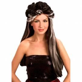 Perruque longue, noire, bouclée sur le dessus, avec mèches blanches