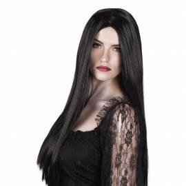 Longue perruque, noire, droite façon Morticia Addams
