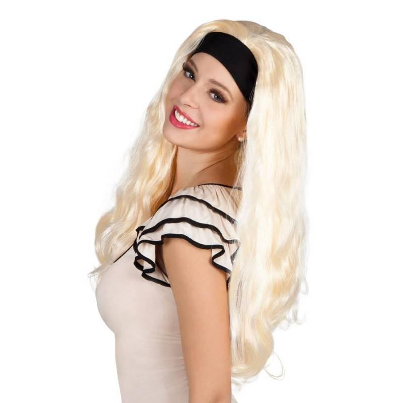 Longue perruque, blonde platine, légèrement ondulée