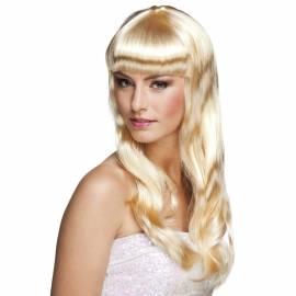 Longue perruque blonde platine avec frange
