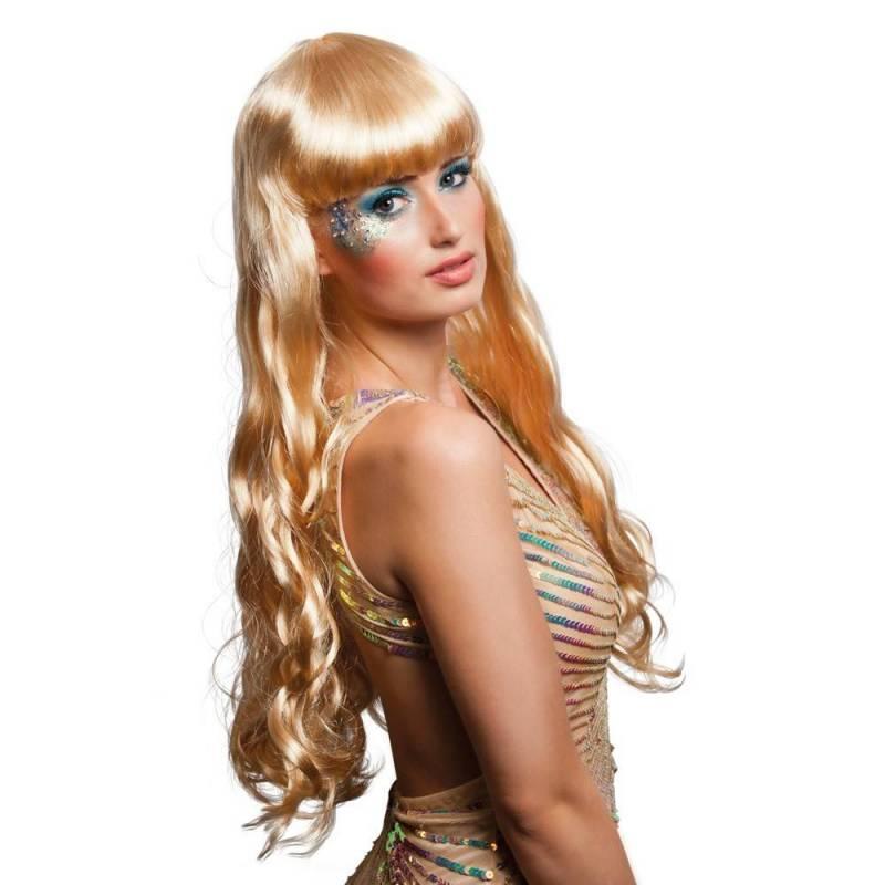 Perruque très longue blond platine