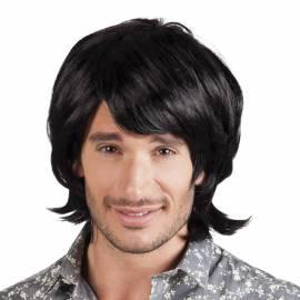 Perruque noire style années 70