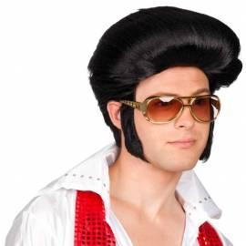Perruque noire Elvis
