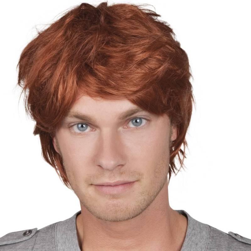 Perruque courte, rousse, pour homme