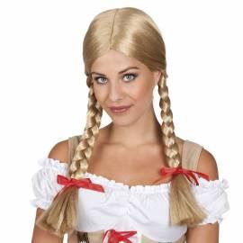 Perruque blonde avec de longues tresses