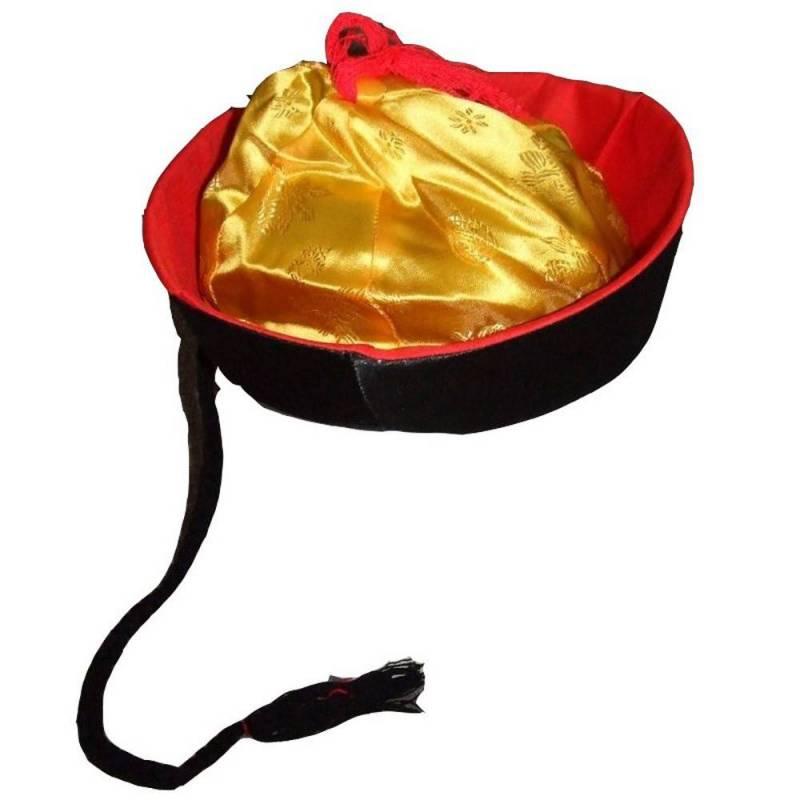 Chapeau mandarin, noir, rouge et or