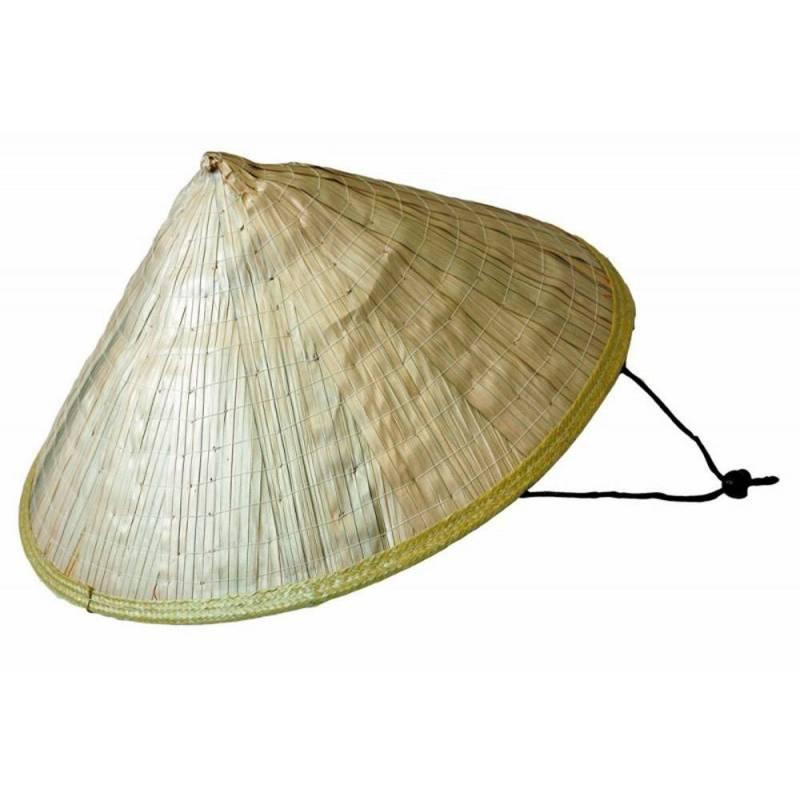 Chapeau chinois pointu en paille