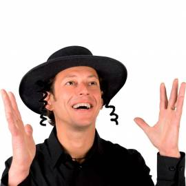 Chapeau rabbi avec ses boucles pour adulte