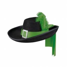 Chapeau de mousquetaire avec ruban et plume de différentes couleurs