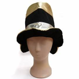 Chapeau haut de forme mou, noir, or et argent