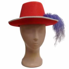 Chapeau de mousquetaire de couleur avec fin ruban blanc
