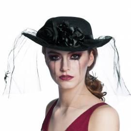 Chapeau noir de veuve, avec voilette et araignées