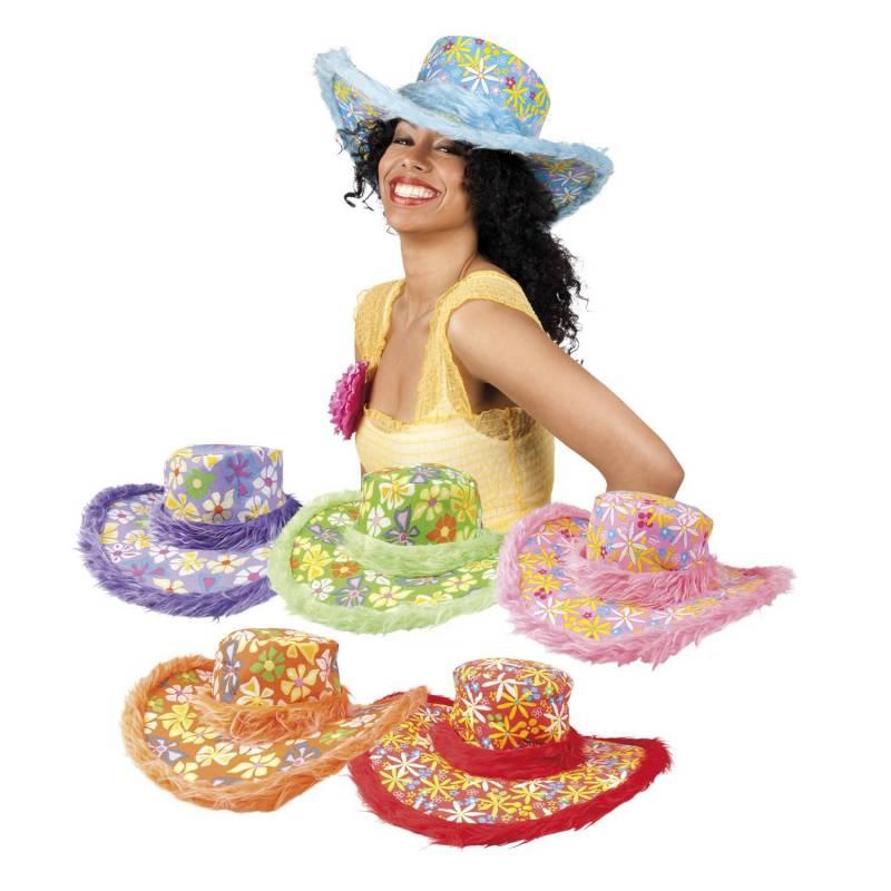 Chapeau de hippie de couleur à fleurs avec bords en fausse fourrure