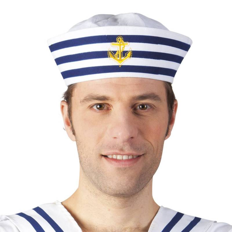 Chapeau de marin à bandes bleues et ancre jaune