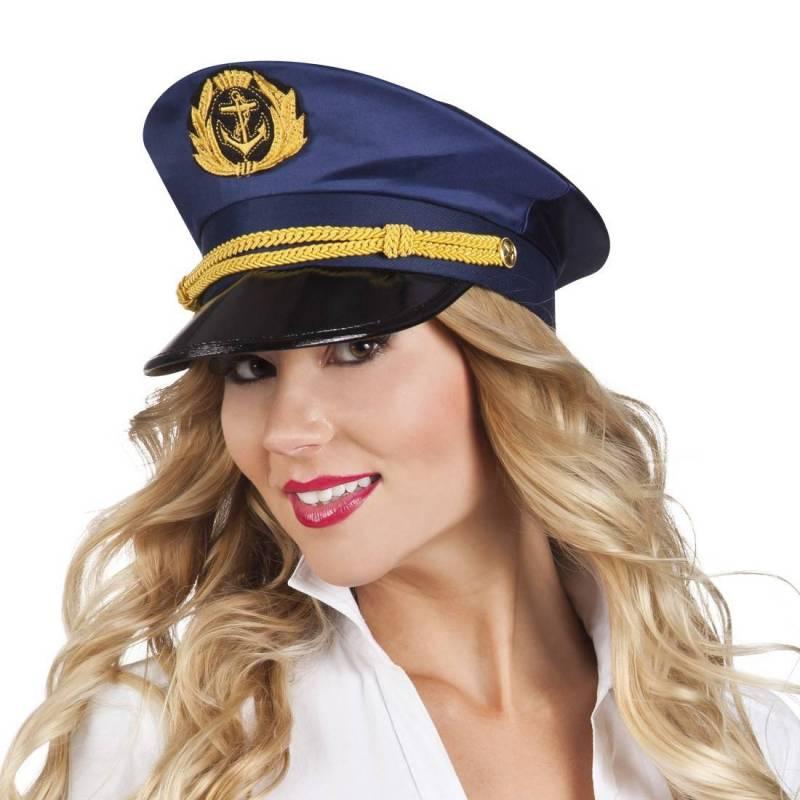 Casquette de capitaine bleu marine à visière noire et cordelette dorée