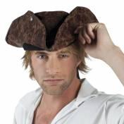 Tricorne marron en cuir craquelé