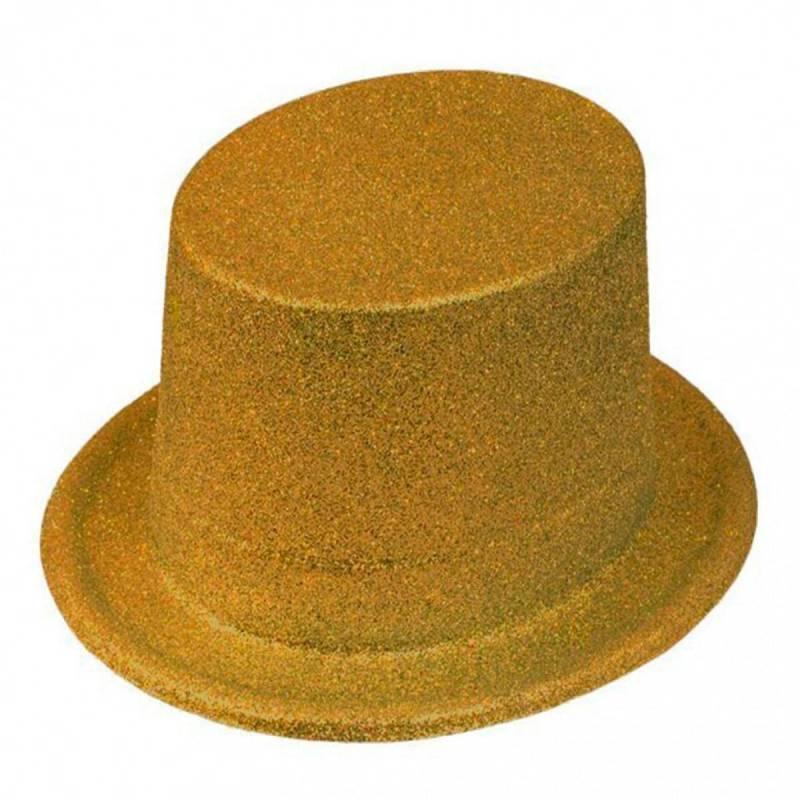 Chapeau haut de forme à paillettes dorées