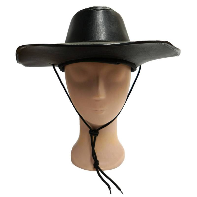 Chapeau de cow-boy en cuir noir
