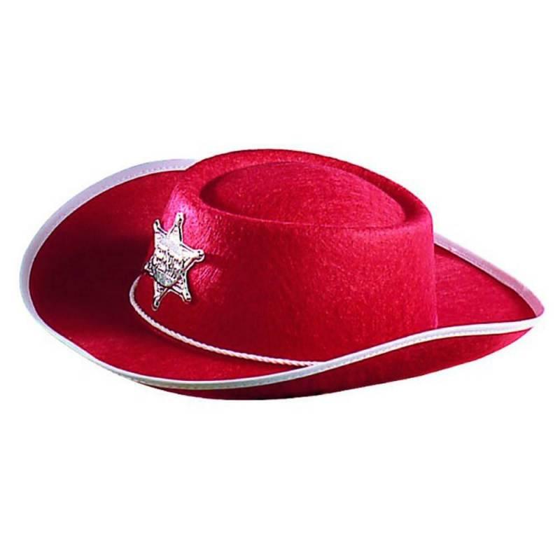 Chapeau de cow-boy rouge avec étoile de shérif
