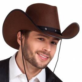 Chapeau de cow-boy marron avec bords noirs