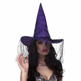 Chapeau pointu de sorcière de couleur avec un voile