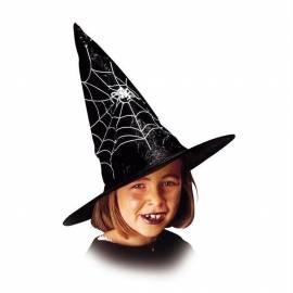 Chapeau pointu de sorcière avec cheveux de couleur et toile d'araignée